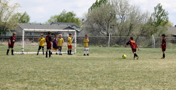 Real Boise CF U8 takes a free kick during US Club Soccer iLeague