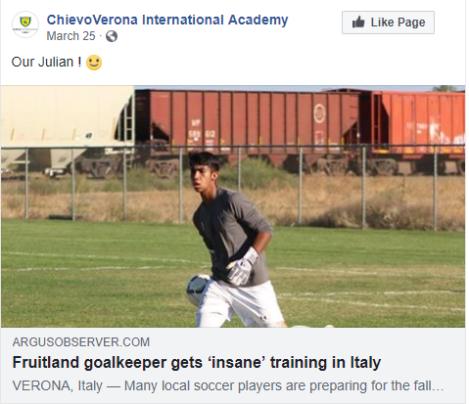 Capture Article about Julian in Verona