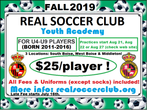 Real Soccer Academy ad Flyer Fall 2019 v2